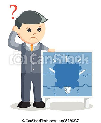 business man losing idea puzzle - csp35769337