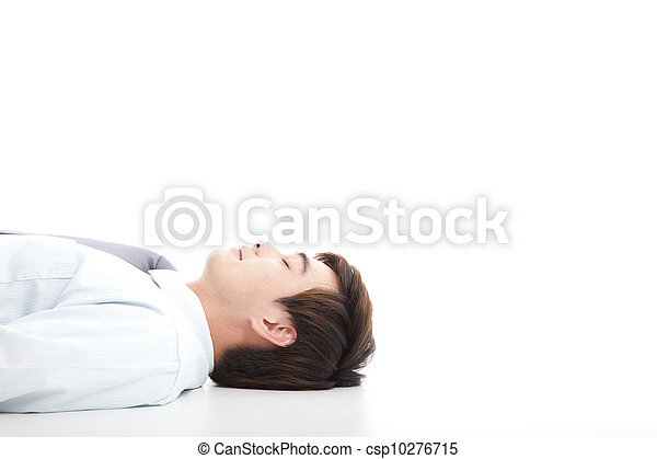 business man lying on floor for rest - csp10276715