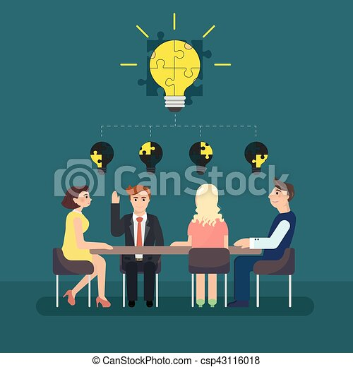Business man meeting at a big conference desk. - csp43116018