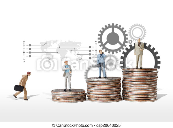 business man miniature figure concept move to success business f - csp20648025