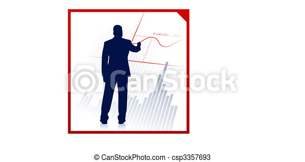 Business man on background with financial equation - csp3357693
