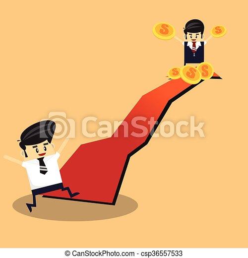 Business man on financial graph. - csp36557533