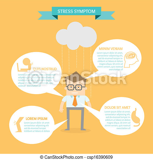 business man on health infographic stress symptom concept - csp16390609