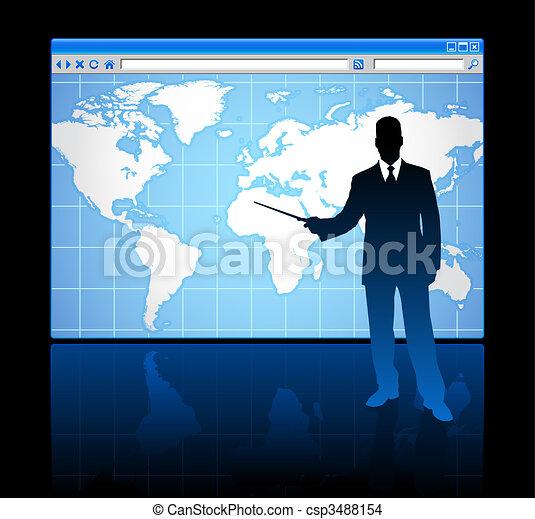 Business man on web browser internet concept with world map - csp3488154