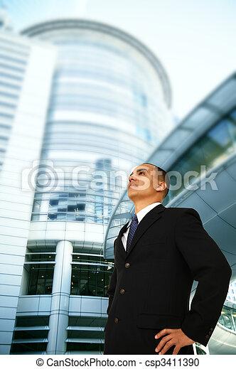 Business Man Overlook Building - csp3411390