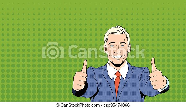 Business Man Point Thumb Finger Up Art Colorful Retro Style - csp35474066