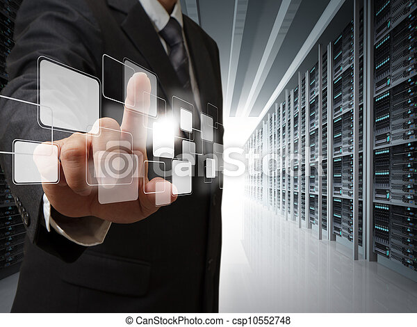 business man point virtual buttons in server room - csp10552748