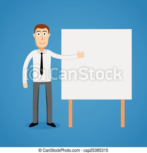 Business man presentation on white board. - csp25385315