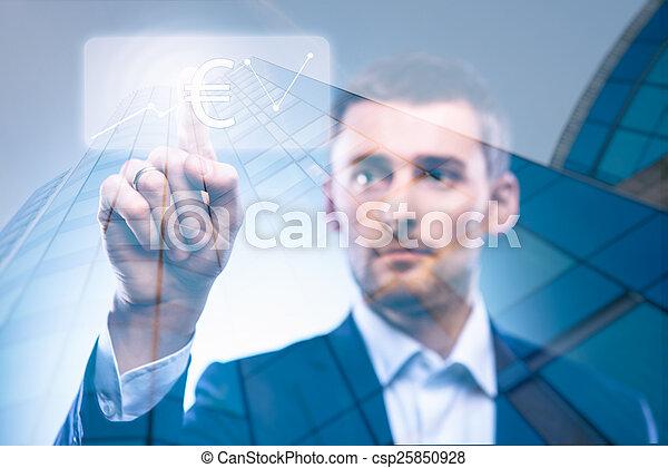 business man press dollar button - csp25850928