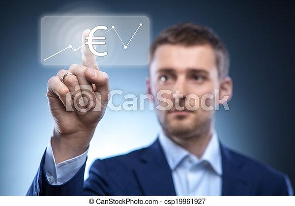 business man press euro button - csp19961927