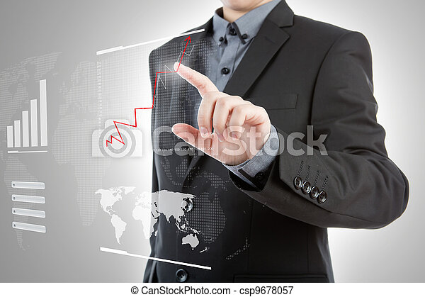 Business man pressing high tech type of modern graph on a virtual background - csp9678057