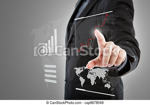 Business man pressing high tech type of modern graph on a virtual background - csp9678049