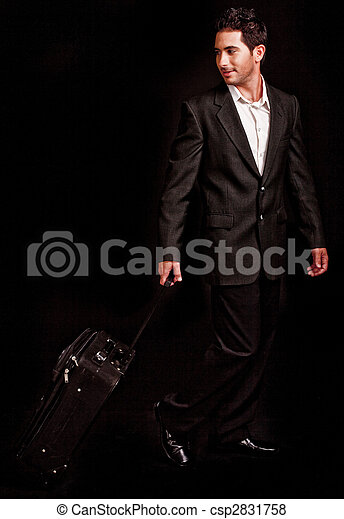 Business man pulling his luggage - csp2831758