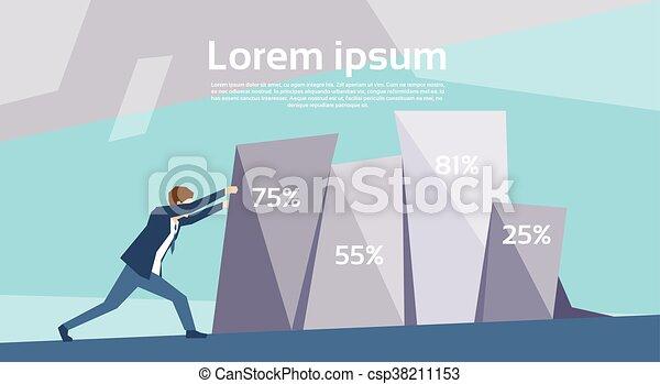 Business Man Push Financial Graph Growing Up Success Growth Concept - csp38211153