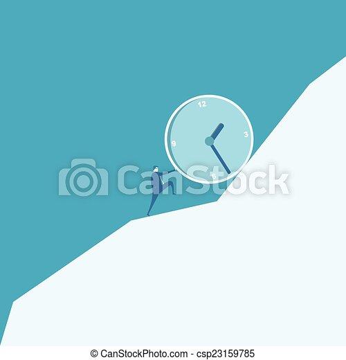 Business man pushing a huge clock up hill - csp23159785
