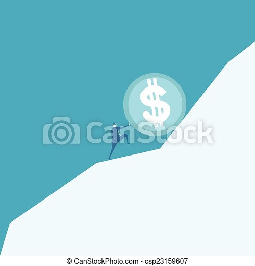 Business man pushing a huge coin up hill - csp23159607