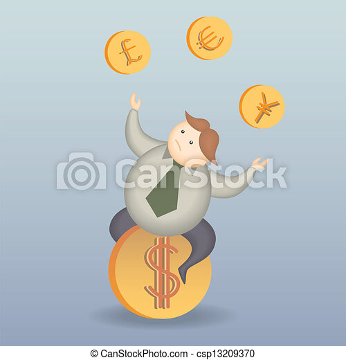 business man risk on money exchange cartoon character - csp13209370