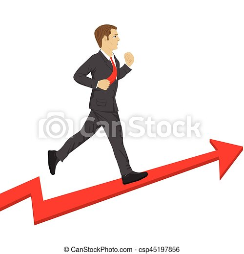 Business man running up a success arrow. Business growth concept. - csp45197856