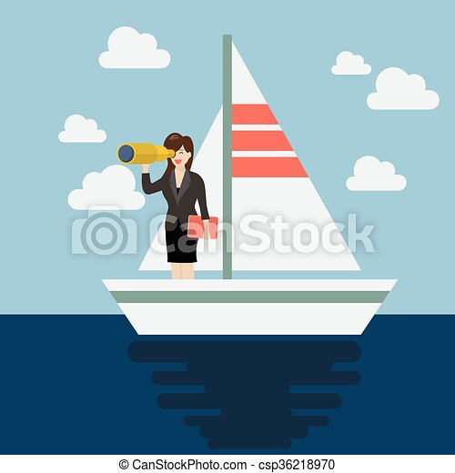Business man sailing and looking for future - csp36218970