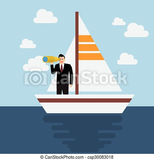 Business man sailing and looking for future - csp30083018