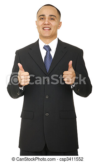 Business Man Showing Two Thumbs - csp3411552