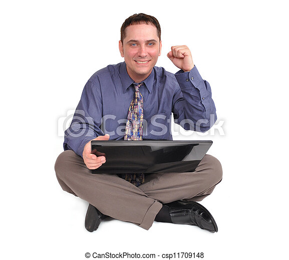 Business Man Sitting with Laptop - csp11709148