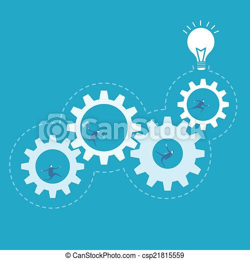 Business man spin the gear, process improvement - csp21815559