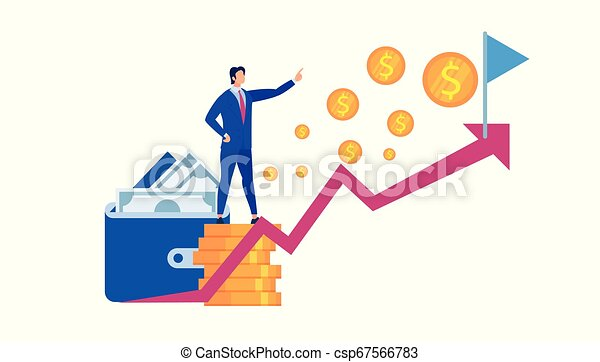 Business Man Stand at Coin Pile Pointing on Flag, - csp67566783