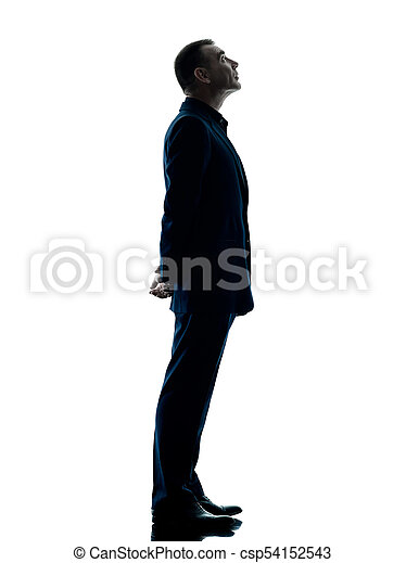 Business man standing silhouette isolated. One caucasian ...