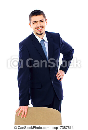 business man standing with office chair over white background - csp17387614