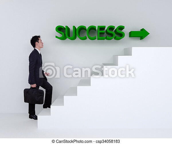 Business man stepping up on stairs to success - csp34058183