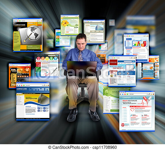 Business Man Surfing Internet Web Sites - csp11708960