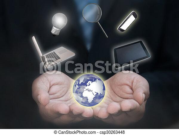 Business man technology world - csp30263448