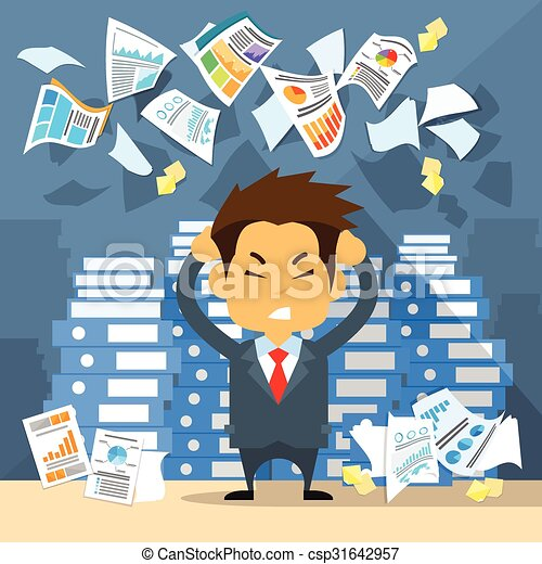 Business Man Throw Papers Hold Hands on Temples Head, Concept of Stressed Businessman Headache - csp31642957