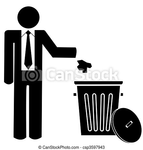 business man throwing garbage into a trash can - no littering  - csp3597943