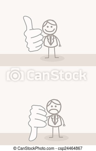 Business Man Thumb UP DOWN - csp24464867