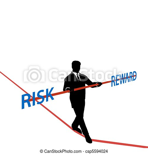 Business man tightrope balance RISK REWARD - csp5594024