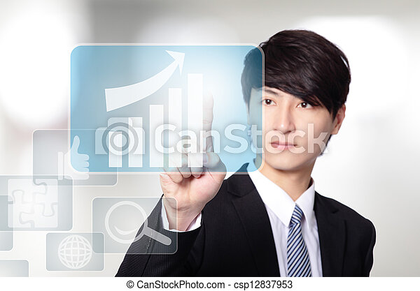 Business man touch all kinds of icon - csp12837953