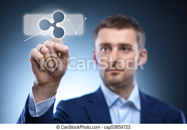 business man touches a ripple icon - csp53859723