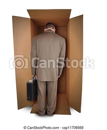 Business Man Unhappy Job in Box - csp11708569