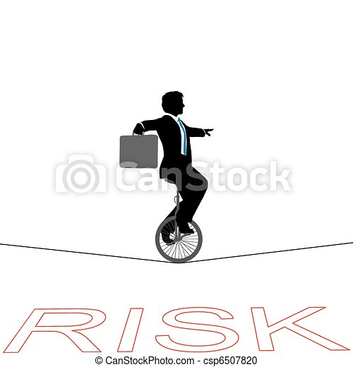 Business man unicycle tightrope over financial risk - csp6507820
