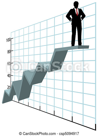 Business man up top company growth chart - csp5094917