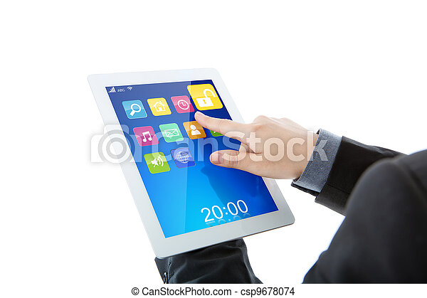 Business man use tablet pc computer with colorful application - csp9678074