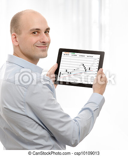 business man using a touch screen device - csp10109013