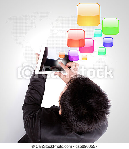 Business man using a touch screen device - csp8960557