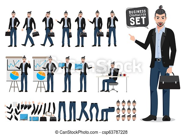 Business man vector character set  Male creative designer