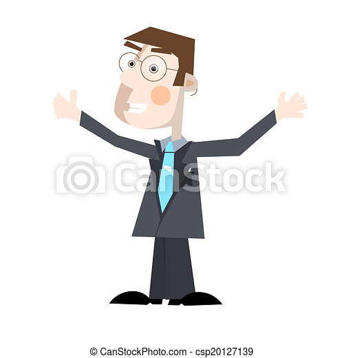Business Man Vector Illustration Isolated on White Background - csp20127139