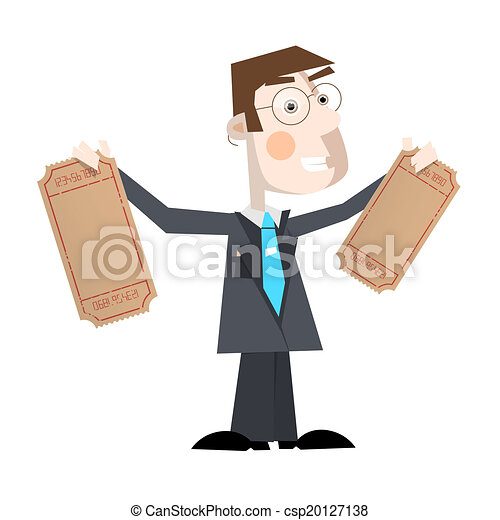 Business Man Vector Illustration With Empty Tickets - csp20127138