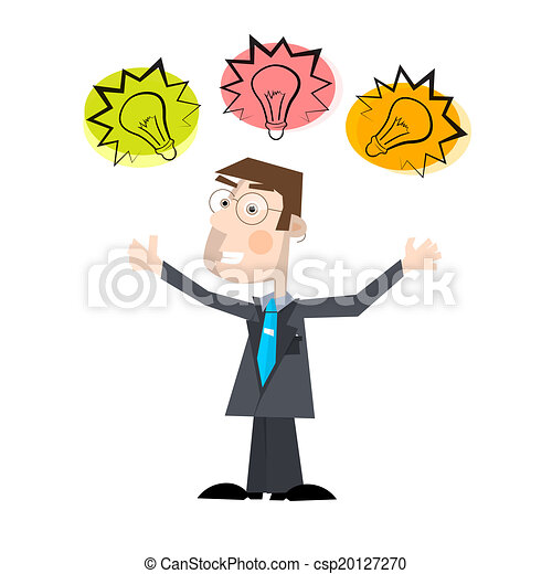 Business Man Vector Illustration with Bulbs Isolated on White Background - csp20127270