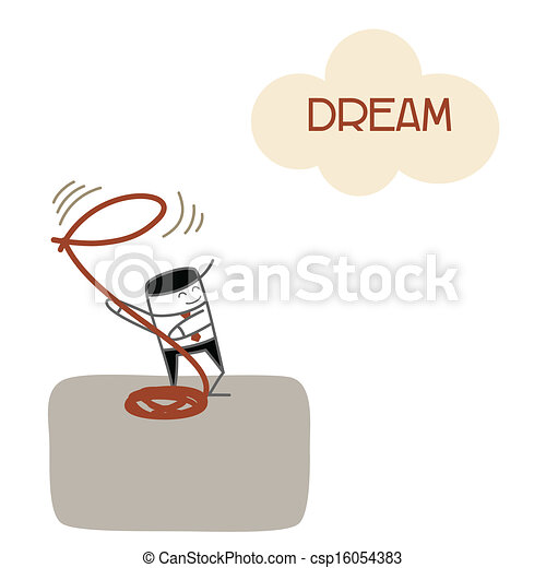 business man vision and catch dream for future success - csp16054383